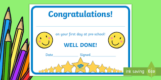 free preschool certificates free first day award certificates kindergarten pre