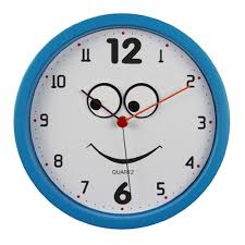 Round Smiley Face Blue Wall Clock