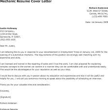 Cover Letter For Technician Job Maintenance Mechanic Cover Letter You Can Use This Letter Sample