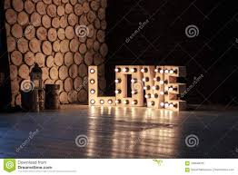 Big Letters With Lights Word Love Illuminated With A Big Letters Stock Photo Image