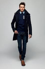 go for a pea coat and dark blue jeans to create a smart casual look