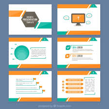 Blue And Orange Powerpoint Template Abstract Presentation With Orange And Green Details Vector