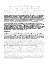 A Review Essay About Collaborative Teacher Professional Learning