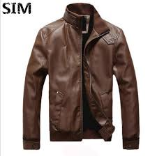 sim men slim pu leather casual motorcycle jacket er biker jacket coat outerwear