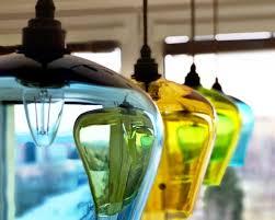 hand blown glass pendant lights kitchen