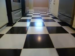 black and white ceramic tile floor