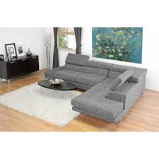Adelaide Gray Twill Fabric Modern Sectional Sofa See White