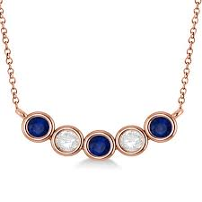 diamond blue sapphire 5 stone pendant necklace 14k rose gold 1ct ad2494