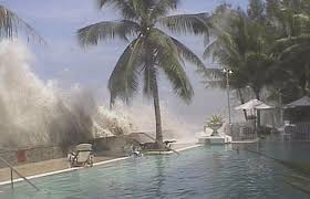 what are tsunamis and where do they happen hubpages a tidal wave is recorded crashing into the wall next to a swimming pool after the