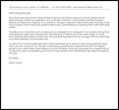Caregiver Recommendation Letter Example Letter Samples Templates