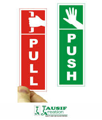 tausif creation new push pull sign laminated glossy doors sticker 6 inch l x 2 5 inch