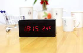aj6035 digital led wood wooden desk alarm clock timer thermometer snooze control black