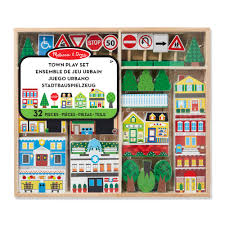 melissa doug wooden town playset