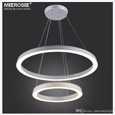 stylish round pendant light modern led ring lamp fixture aluminum frame acrylic led round
