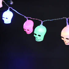 Outdoor Skull Lights Us 4 12 14 Off 10pcs Led Halloween Fairy Battery Operated String Lights Skull Shape Light For Holidays Christmas Party Outdoor Decorations In