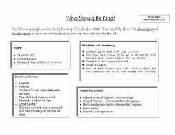 english throne history history worksheets ks ks lesson plans  history worksheets ks3 ks4 lesson plans resources who should be king 1066 worksheet