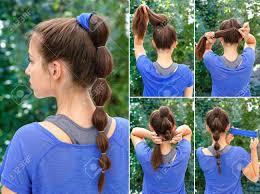 スポーツ ポニーテールとシュシュのチュートリアルの簡単なヘアスタイル