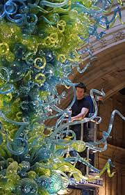 cleaning the chihuly chandelier