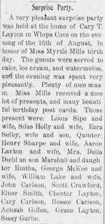 Surprise Party at home of Cary T. Layton in Whip's Cove in honor of Miss Myrtle  Mills - Newspapers.com