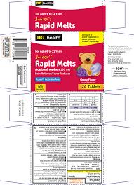 Jr Strength Acetaminophen Dosage Chart Junior Rapid Melts Tablet Chewable Dolgencorp Llc