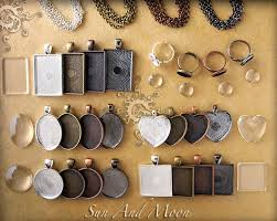 diy kit keepsake photo pendant and photo necklace kit large diy blank pendant kit with rings