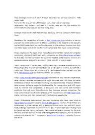 strategic analysis of small medium data recovery services company hd