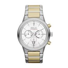 relic men s wrigley two tone chronograph watch w white dials relic men s wrigley two tone chronograph watch w white dials