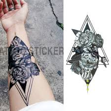 1 Pieces Set Small Full Flower Arm Temporary Waterproof Tattoo Stickers Fox Owl For Women Men Body Art