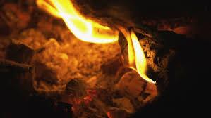 burning flames and coals in the fire slow motion hd stock footage clip