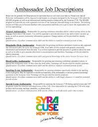 10 Brand Ambassador Job Description For Resume Riez Sample
