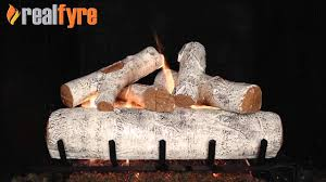 real fyre white birch gas logs live burn efireplace