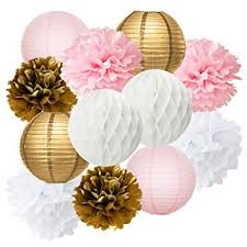 Party Decorations Tissue Paper Balls Amazon Pink Baby Shower Decorations Furuix 100pcs Pink Gold 94