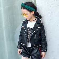 dreamshining fashion children pu leather jacket autumn winter girl pearl clothing coats kids warm short outwear