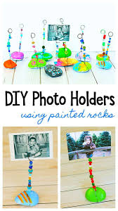 diy photo holder for kids using painted rocks or stones wire and beads