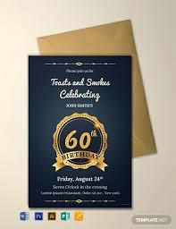 Free 60th Birthday Invitation Template Word Psd