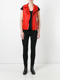 giorgio brato sleeveless biker jacket red geranio women