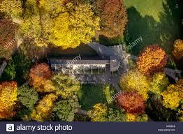 Aerial view, Saline, spa Hamm, autumn leaves, Hamm, Ruhr ...