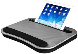 com lapgear deluxe a lap desk with phone tablet holder silver carbon fits upto 12 9 tablet 15 6 laptop 91335 computers accessories