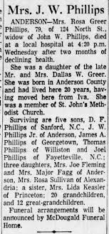Rosa Greer Phillips, Obituary, John W. Phillips, Mr. and Mrs. Dallas W.  Greer - Newspapers.com