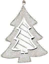 Fensterdekoration Tannenbaum Aus Metall Grau Weiß 12 Cm