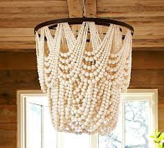 wood bead chandelier