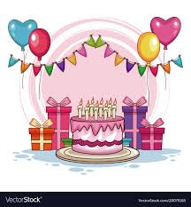 birthday cake and balloons and gifts. Modren And Birthday Gifts And Cake With Balloons Vector Image Throughout Cake And Balloons Gifts