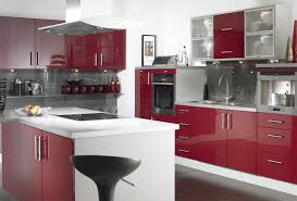 Idyllic White And Red Kitchen Cabinets Sets As Well As White Kitchen Island  Added Modern Stools As Decorate Modern Red White Kitchen Designs