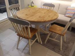 Pine Farmhouse Kitchen Table Round Solid Pine Grey And Cream Shabby Chic Farmhouse Dining Table