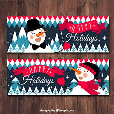 happy holidays banner free. Snowman Wish You Happy Holidays Banner Free Vector Throughout