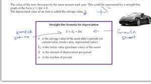 Straight Line Depreciation Equation Straight Line Depreciation Youtube