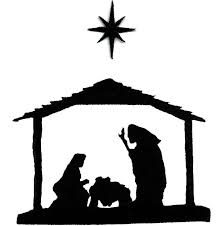 Manger Scene Applique Design Nativity Christmas Black Silhouette Embroidered Iron On