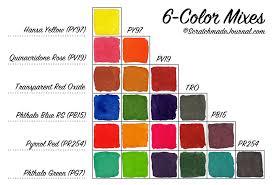 Watercolor Combination Chart 6 Color Watercolor Palette Scratchmade Journal