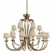 18 light retro rustic luxury brass pendant lamp chandelier with fabric shade