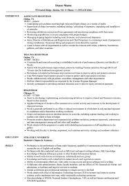 Registrar Resume Samples Velvet Jobs
